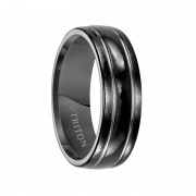 Triton Ring 7mm Domed Black Titanium Comfort Fit Band