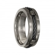 Triton Ring 7mm Domed Titanium comfort fit band with cable inlay