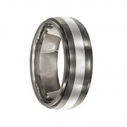 Triton Ring 7.5mm Titanium with Silver Inlay Domed with Step Edge Comfort Fit Band