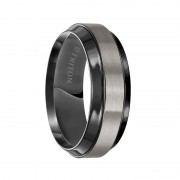 Triton Ring 8mm Black titanium Flat with Beveled Edge Comfort Fit Band