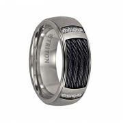 Triton Ring 8mm Titanium Step Edge comfort fit diamond band with black steel cable inlay