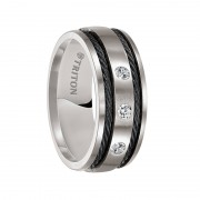 Triton Ring 9mm Titanium satin finish comfort fit diamond band with black steel cable inlay