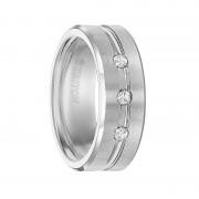Triton Ring 8mm Cobalt Bevel Edge Brush Finish comfort fit Triple Diamond band with bright center horizontal cut
