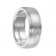 Triton Ring 8mm Slightly Domed Brush Finished Cobalt Wedding Band with Offset Grooves and Diamond Setting