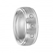 Triton Ring 8mm Slightly Domed Cobalt Ring with Polished Step Edges, Satin Center, and Triple Diamond Setting