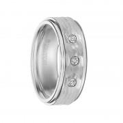 Triton Ring 8mm Cobalt Step Edge Hammer Texture comfort fit Diamond Band