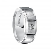 Triton Ring 8mm Slightly Domed Cobalt Ring with Polished Edges, Satin Center, Polished Vertical Cuts and Single Diamond Setting