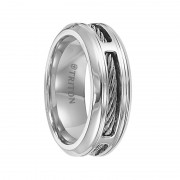 Triton Ring 7mm Stainless steel comfort fit band with cable inlay