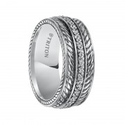 Triton Ring 8mm Sterling Silver Cast Wedding Band with Woven Pattern and All Around Diamond Center