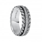 Triton Ring 7mm Sterling Silver Cast Wedding Band with Woven Pattern and Raised Center Circle of Diamonds