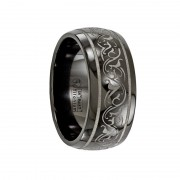 Edward Mirell Ring 10mm Black Titanium Domed Laser Patterned Wedding Band