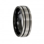 Edward Mirell Ring 7mm Traction Black Titanium pinstripes