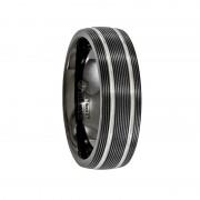 Edward Mirell Ring 7mm Black Titanium Textured Lines Wedding Band