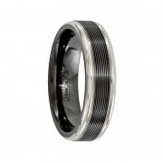 Edward Mirell Ring 6.5mm Black Titanium-Traction Finish with Polished Edge Wedding Band
