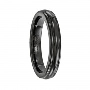 Edward Mirell Ring 4mm Black Titanium Triple Domed Band