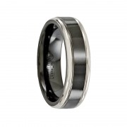Edward Mirell Ring 6.5mm Black Titanium Grey Edges Band