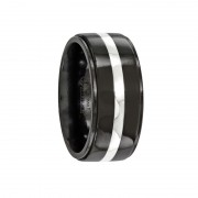 Edward Mirell Ring 10mm Black Titanium & Sterling Silver Inlay Band