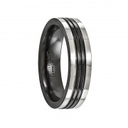 Edward Mirell Ring 6mm Black Titanium  with Gray Borders