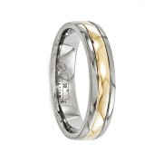 Edward Mirell Ring 5mm Gray Titanium and 14K Yellow Gold Ring