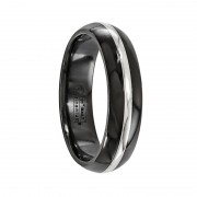 Edward Mirell Ring 6mm Black Titanium And 14K White Gold Domed Band