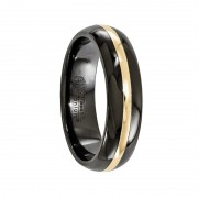 Edward Mirell Ring 6mm Black Titanium and 14K Domed Band