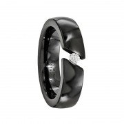 Edward Mirell Ring 6mm Black Titanium .10 Ct. Diamond Band