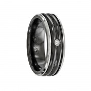 Edward Mirell Ring 7mm Black Titanium .03Ct Dia with Sterling Silver Bezel Band
