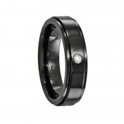 Edward Mirell Ring 6mm Black Titanium Band with .03Ct Diamond