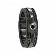 Edward Mirell Ring 7mm Black Titanium Ring with Dual Black Cables and Black Diamond