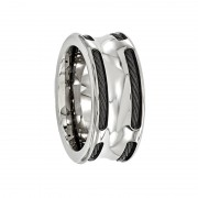 Edward Mirell Ring 10mm Titanium Ring with Steel Cables