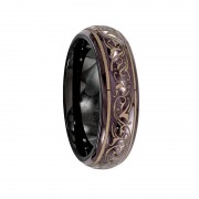 Edward Mirell Ring 6mm Black Titanium Ring with Anodized Copper Color Pattern