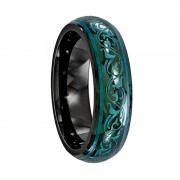 Edward Mirell Ring 6mm Black Titanium Ring with Anodized Teal Color Pattern