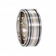 Edward Mirell Ring 10mm Titanium Ring with Silver Inlay & Blue Anodized Grooves
