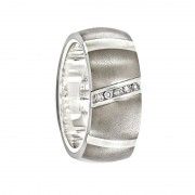 Edward Mirell Ring 10mm Titanium Ring with Sterling Silver Inlay & .10Ct Diamond Ring