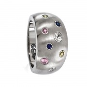 Edward Mirell Ring 12mm Domed Titanium Ring with Multi-Color Sapphires