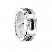 Triton Ring 8mm Comfort Fit White Tungsten Silver Black Diamond Band