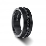 Triton Ring 8mm Comfort Fit Black Tungsten All Around Black Sapphire Band