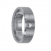 Triton Ring 7mm Tungsten carbide Bevel Edge comfort fit diamond band with satin finish and bright cuts