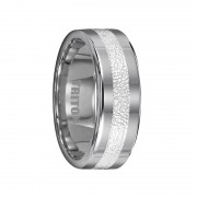 Triton Ring 8mm Tungsten Wedding Band with 3mm Wide Textured Silver Inlay