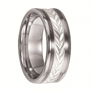 Triton Ring 8mm Concave Tungsten Ring with Leaf Pattern Silver Inlay