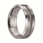 Triton Ring 8mm Tungsten carbide Brush Finish With Bright Bevel Edge Comfort Fit Band with Center Steel Cable Inlay