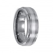 Triton Ring 7mm Tungsten Carbide Brush Finish Flat with Bright Round Rims Comfort Fit Band with Precious metal Inlay