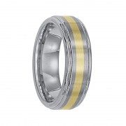 Triton Ring 7mm Raised Brushed Center Tungsten Carbide Wedding Band with Polished Rounded Rims and 18k Gold Inlay