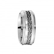 Scott Kay Ring Native 7mm Concave Cobalt Ring with Braid Patterns