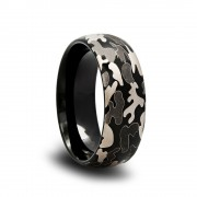 Domed Black Camo Tungsten Wedding Band with Black and Gray Camo Pattern