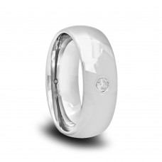 180T - Domed Polished Diamond Wedding Band