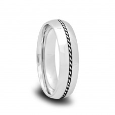 183T - Domed Polished Tungsten Wedding Band with Braided Palladium Inlay