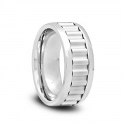 199T - Tungsten Wedding Band with Polished Edges and Ridge Grooves