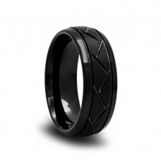 Domed Black Tungsten Wedding Band with Satin Center and Tire Grooves