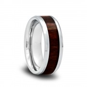 166T - Beveled Edge Tungsten Wedding Band with Black Walnut Wood Inlay